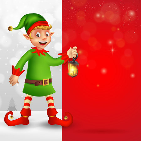 Cute cartoon christmas elf holding Christmas lantern with big blank red signboard for text in Christmas snow scene Çizim