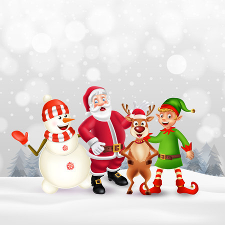 Cute Cartoon Christmas characters. Santa Claus, Snowman, Reindeer and elf in snow scene with place for text. Christmas and Happy new year greeting card