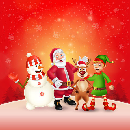 Cute Cartoon Christmas characters. Santa Claus, Snowman, Reindeer and elf in red snow scene with place for text. Christmas and Happy new year greeting card.