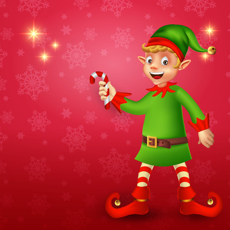 Cute cartoon christmas elf holding candy cane in red background with place for text Çizim