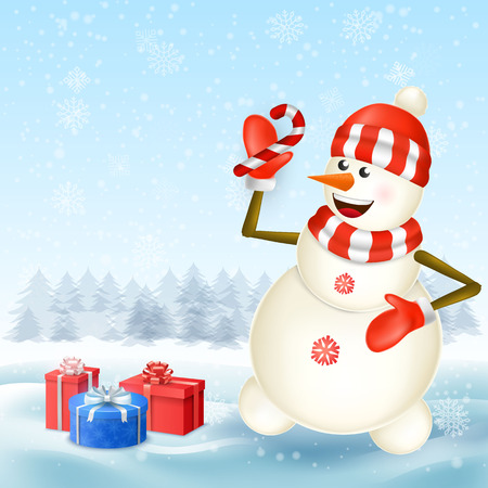 Cute cartoon christmas Snowman holding candy cane in Christmas snow scene with place for text