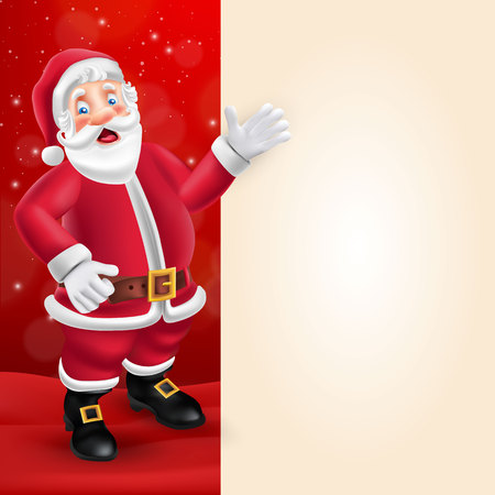 Cute cartoon Santa Claus showing big blank signboard for text on red background