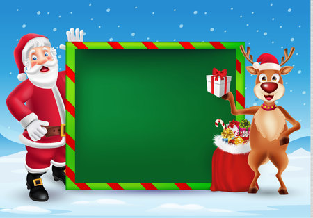 Cute cartoon Santa Claus and reindeer showing big blank green signboard for text in Christmas snow scene