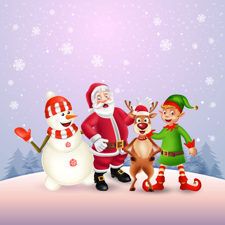 Cute Cartoon Christmas characters. Santa Claus, Snowman, Reindeer and elf in purple snow scene with place for text. Christmas and Happy new year greeting card.
