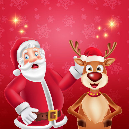 Cute cartoon Santa Claus and reindeer in red background with place for text