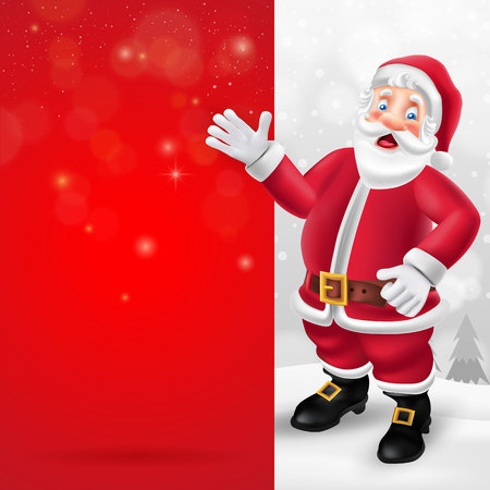 Cute cartoon Santa Claus showing big blank red signboard for text in Christmas snow scene