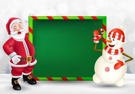 Cute cartoon Santa Claus and snowman showing big blank green signboard for text in Christmas snow scene