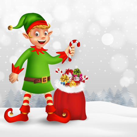 Cute cartoon christmas elf holding candy cane and bag with presents in Christmas snow scene with place for text