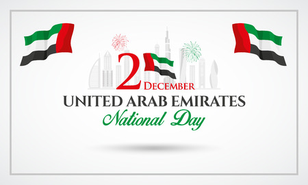Logotipo del día nacional de los Emiratos Árabes Unidos con la bandera nacional de los Emiratos Árabes Unidos y confeti. ilustración vectorial para la tarjeta de felicitación, pancarta, volante y póster del Día Nacional de los Emiratos Árabes Unidos