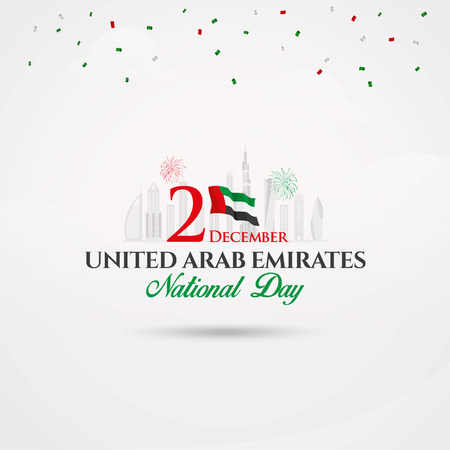 UAE National Day logotype with UAE national flag and confetti. vector   illustration for UAE National Day greeting card, banner, flyer and poster Çizim