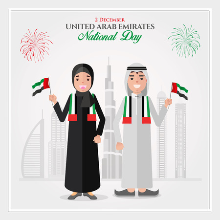 UAE national Day greeting card. cartoon Emirati kids holding UAE national flag   celebrating United Arab Emirates National Day. vector illustration for banner,   flyer and poster Stok Fotoğraf - 117614627
