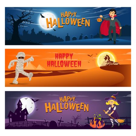 set of three Happy halloween banner with text and cartoon character   kids in halloween costume