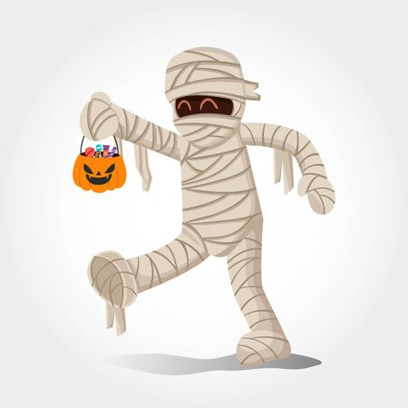 Cute cartoon  boy in mummy costume with a pumpkin bag for sweets trick   or treat isolated on white background