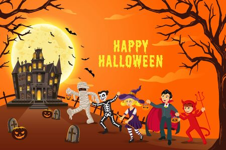 Fondo feliz halloween. niños vestidos con disfraces de halloween para ir a Trick or Treating con una misteriosa casa embrujada en una noche de luna llena