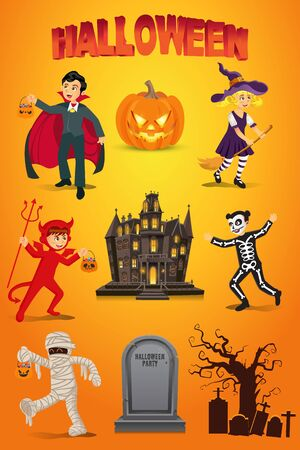 Halloween vector set with kids dressed in halloween costume, pumpkin,   gravestone and haunted house on orange background Çizim