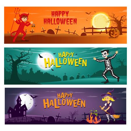 set of three horizontal halloween banner with text and cartoon   character kids in halloween costume Çizim
