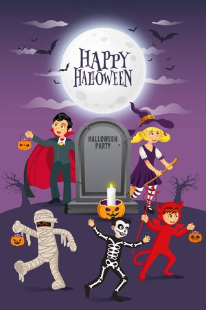 Happy halloween background. kids dressed in halloween costume to go   Trick or Treating with old gravestone and full moon.vector illustration for   happy halloween card, flyer, banner and invitation
