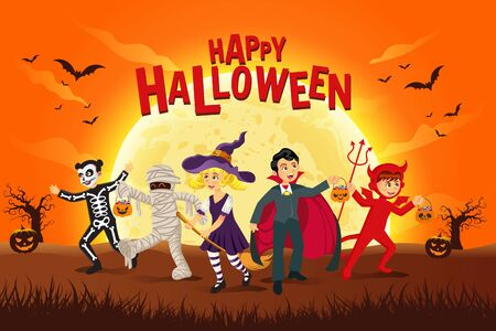 Happy halloween background. kids dressed in halloween costume to go   Trick or Treating In the moonlight