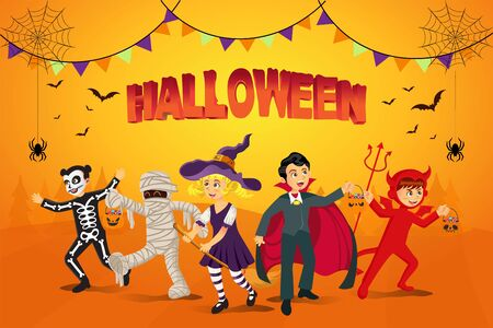 Happy halloween background. kids dressed in halloween costume to go   Trick or Treating with orange background. Çizim