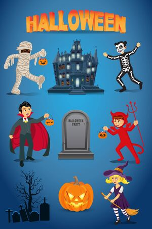 Halloween vector set with kids dressed in halloween costume, haunted   house, pumpkin and gravestone on blue background. Çizim
