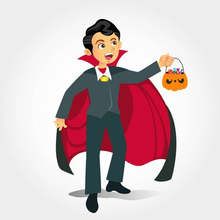 Cute cartoon  boy in vampire costume with a pumpkin bag for sweets   trick or treat isolated on white background Çizim