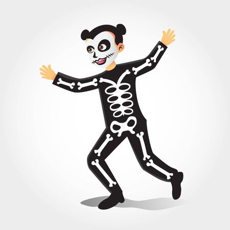 Cute cartoon girl in skeleton costume isolated on white background