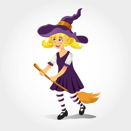 Cute cartoon girl in witch costume isolated on white background