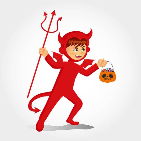 Cute cartoon  boy in devil costume with a pumpkin bag for sweets trick   or treat isolated on white background