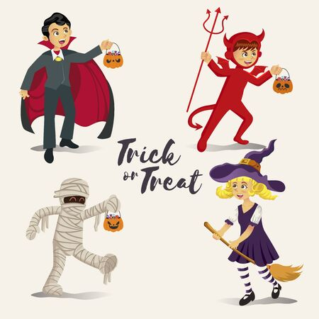 Cartoon happy kids in halloween costume to go Trick or Treating isolated   on white background