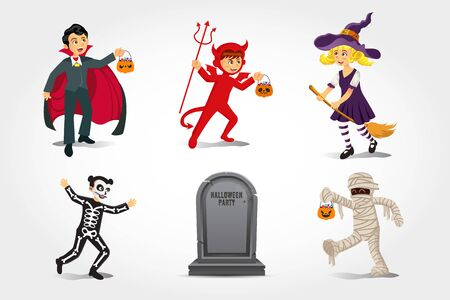 Cartoon happy kids in halloween costume with old gravestone isolated on   white background