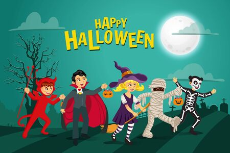Happy halloween background. kids dressed in halloween costume to go Trick or Treating with green background.