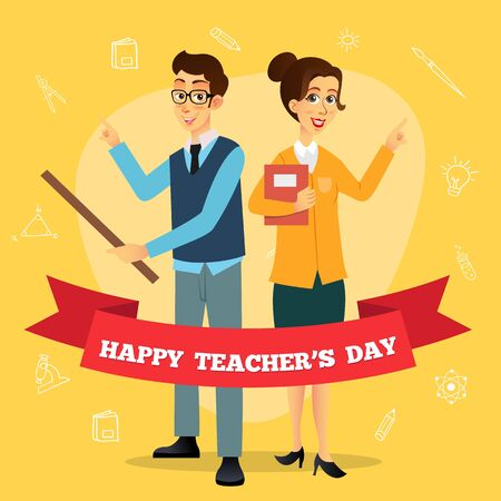 Happy Teachers Day cartoon illustration. Suitable for greeting card, poster and banner