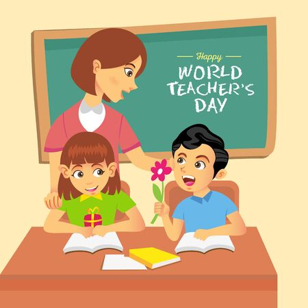 Happy World Teachers Day cartoon illustration. Suitable for greeting card, poster and banner Çizim