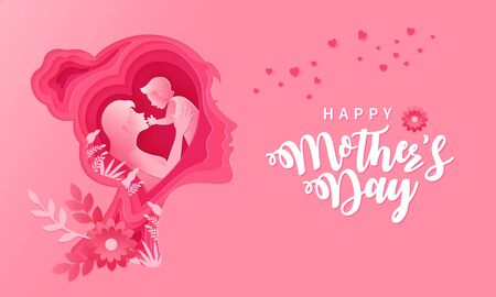 Happy Mothers day. Greeting card illustration of mother and baby   inside paper cut woman head Çizim