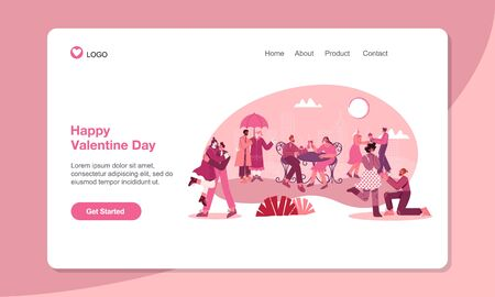 Valentines Day Landing Page Template. romantic couples in love with modern flat style vector illustration. suitable for web, banner, poster and landing page