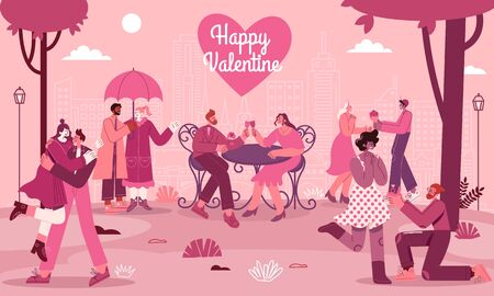 Valentines Day greeting card with romantic couples in love with modern flat style vector illustration for Valentines Day greeting card Çizim