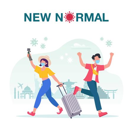 New normal concept illustration with couple of tourists with suitcases are traveling to travel and wearing face mask protect coronavirus covid-19. New normal after Covid-19 pandemic concept Vector Illustratie