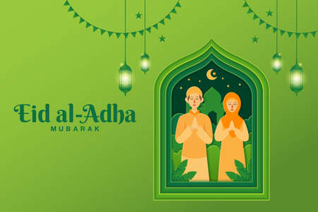 Eid al-Adha greeting card concept illustration in paper cut style with cartoon muslim couple blessing Eid al-Adha with mosque as background Vetores