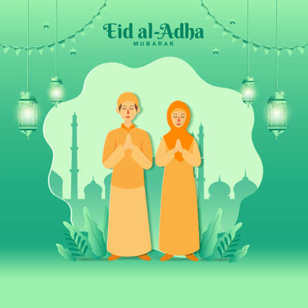 Eid al-Adha greeting card concept illustration in paper cut style with cartoon muslim couple blessing Eid al-Adha with mosque as background