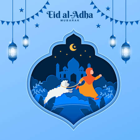 Eid al-Adha greeting card concept illustration in paper cut style with muslim girl bring sheep for sacrifice Vetores