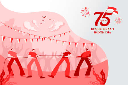 Indonesia independence day greeting card with traditional games concept illustration. 75 tahun kemerdekaan indonesia translates to 75 years Indonesia independence day