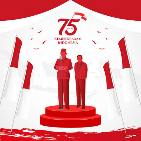 Indonesia independence day greeting card with traditional games concept illustration. 75 tahun kemerdekaan indonesia translates to 75 years Indonesia independence day Vecteurs