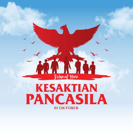 Indonesian Holiday Pancasila Day Illustration.Translation: October 01, Happy Pancasila day. Suitable for greeting card, poster and banner Vetores