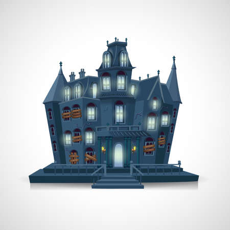 happy halloween. haunted house isolated on white background