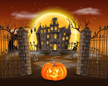 happy halloween background with scary pumpkin on graveyard with haunted house, and full moon. vector illustration for happy halloween card, flyer and poster Çizim