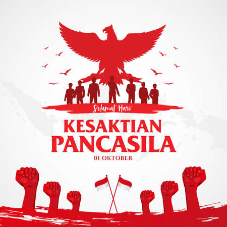 Indonesian Holiday Pancasila Day Illustration.Translation: October 01, Happy Pancasila day. Suitable for greeting card, poster and banner Çizim