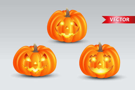 Set of scary pumpkins isolated on white background. suitable for halloween background, poster, banner and flyer