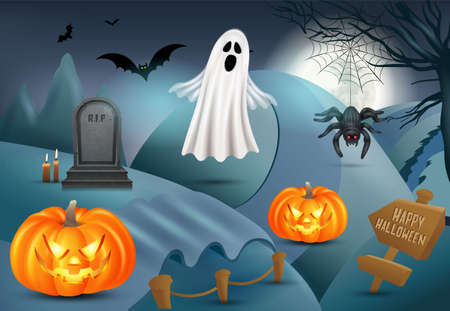 Happy Halloween background with pumpkin, ghost, gravestone, spider. 3d vector illustration