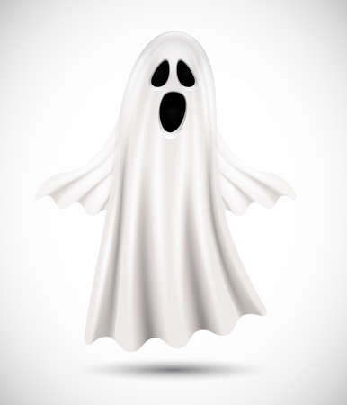 flying ghost isolated on white background. suitable for halloween Çizim