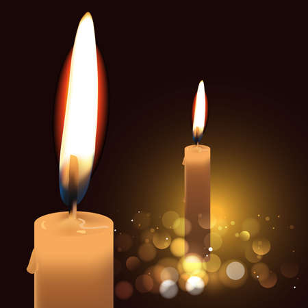 realistic burning candles isolated on the dark background. vector